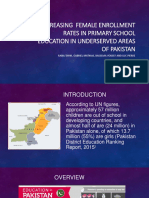 Increasing  female enrollment rates in primary school education in underserved areas of Pakistan