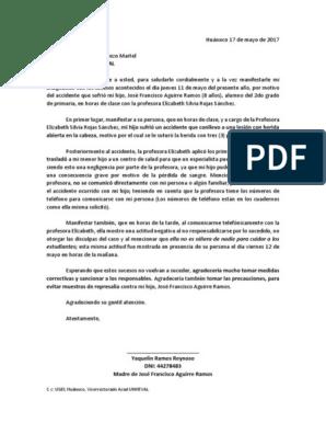 Modelo Carta De Reclamo Colegio Violencia Agitación