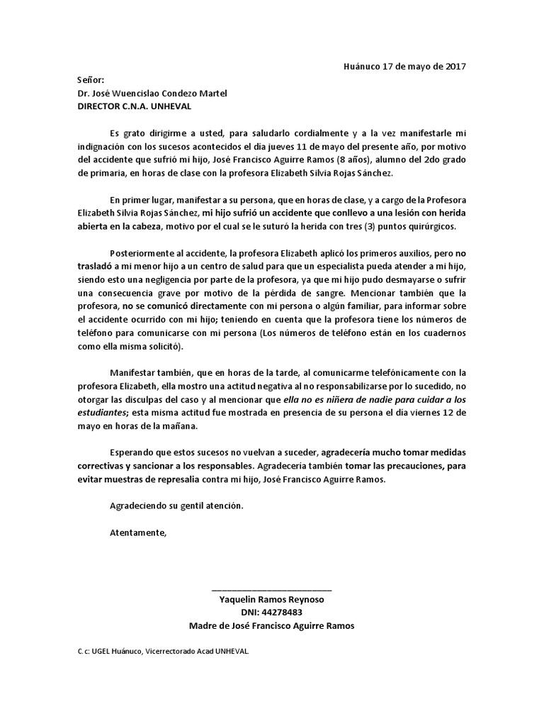 Carta De Queja Por Maltrato Laboral Soalan Bs