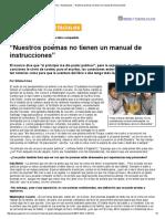 """Página_12 __ Espectaculos __ """"Nuestros Poemas No Tienen Un Manual de Instrucciones"""""""