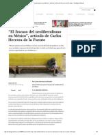 _El Fracaso Del Neoliberalismo en México_, Artículo de Carlos Herrera de La Fuente - Aristegui Noticias