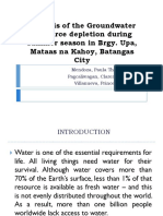 Analysis of the Groundwater Resource Depletion During Summer