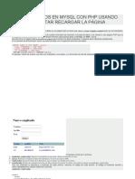 Insertar Datos Sin Recargar Pagina