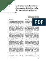 Lenguaje Ciencia y Metaforizacion de La