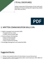 Part I- 2. Written and Coummunication Skills (33%)