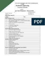 SCM Teaching Schedule
