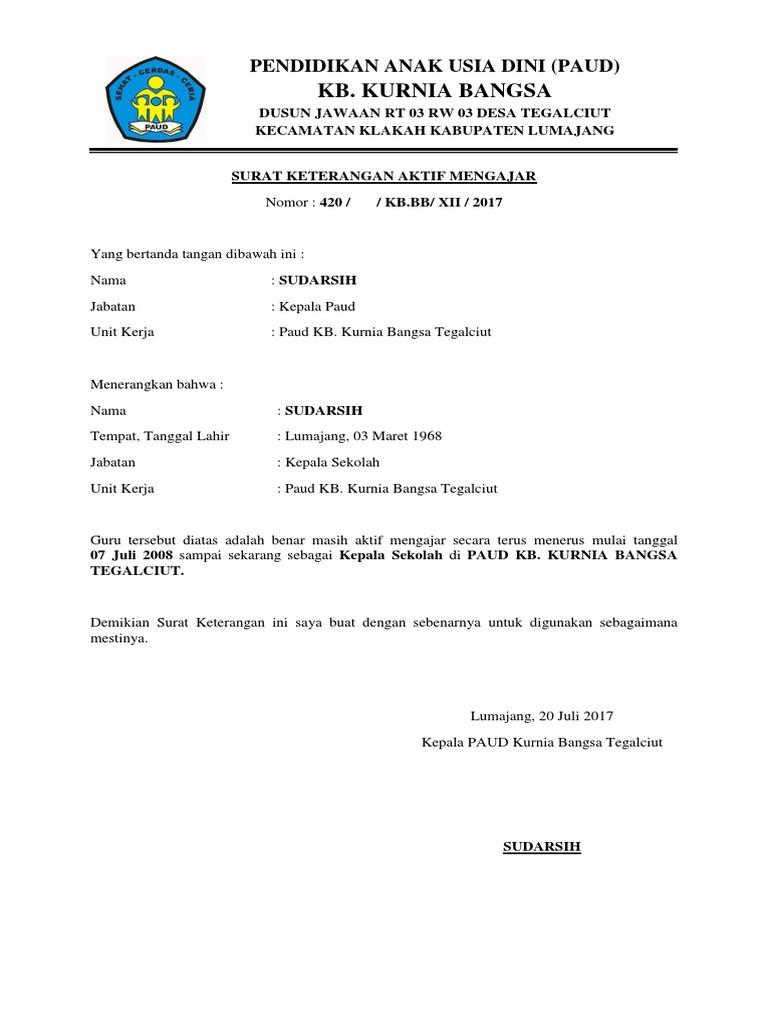 Paud Kb Kurnia Bangsa Tegalciut Surat Keterangan Aktif Mengajardocx