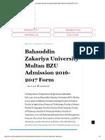 Bahauddin Zakariya University Multan BZU Admission 2016-2017 Form