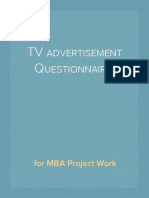 Questionnaire on TV Advertisement for MBA Project Work