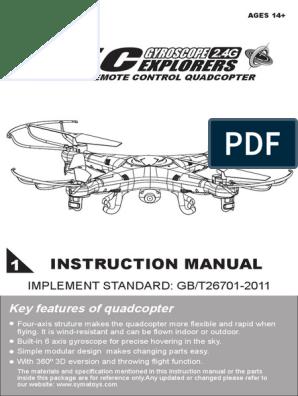 syma-x5c-user-manual pdf | Quadcopter | Battery (Electricity)