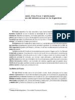 Quiroga Estado Politica y Mercado. Dimensiones Del Debate Actual en La Argentina