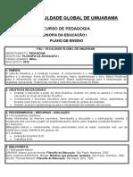 APOSTILA DE FILOSOFIA DA EDUCAÇÃO I - SEGUNDO PEDAGOGIA.doc