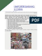 Menjadi Importir Barang Produksi China