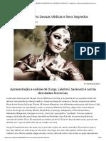 As Deusas Védicas - SABERES ANCESTRAIS Do SAGRADO FEMININO - Sabedoria e Espiritualidade Feminina