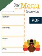 Thanksgiving Menu Planner Turkey