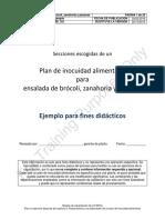 FSMA - Plan de Inocuidad Ensalada de Brócoli, Zanahoria y Pacanas