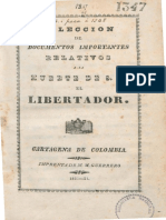 1831 Colección documentos muerte de Bolívar