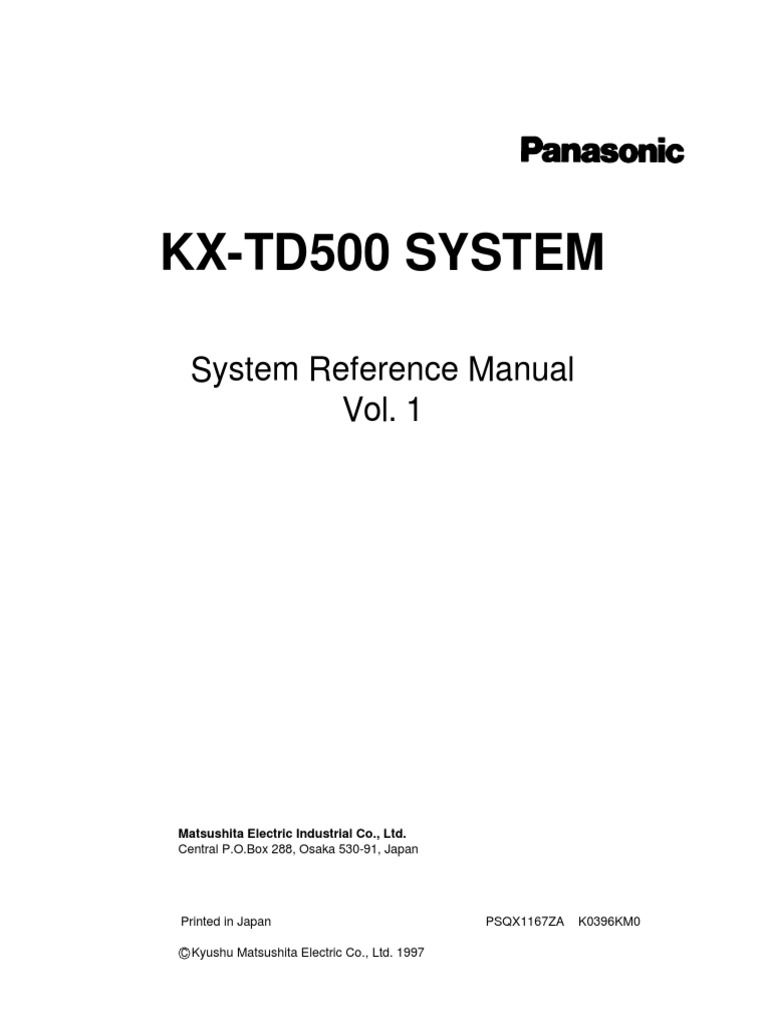Panasonic KX-TD500 - Function Guide | Telephone Exchange