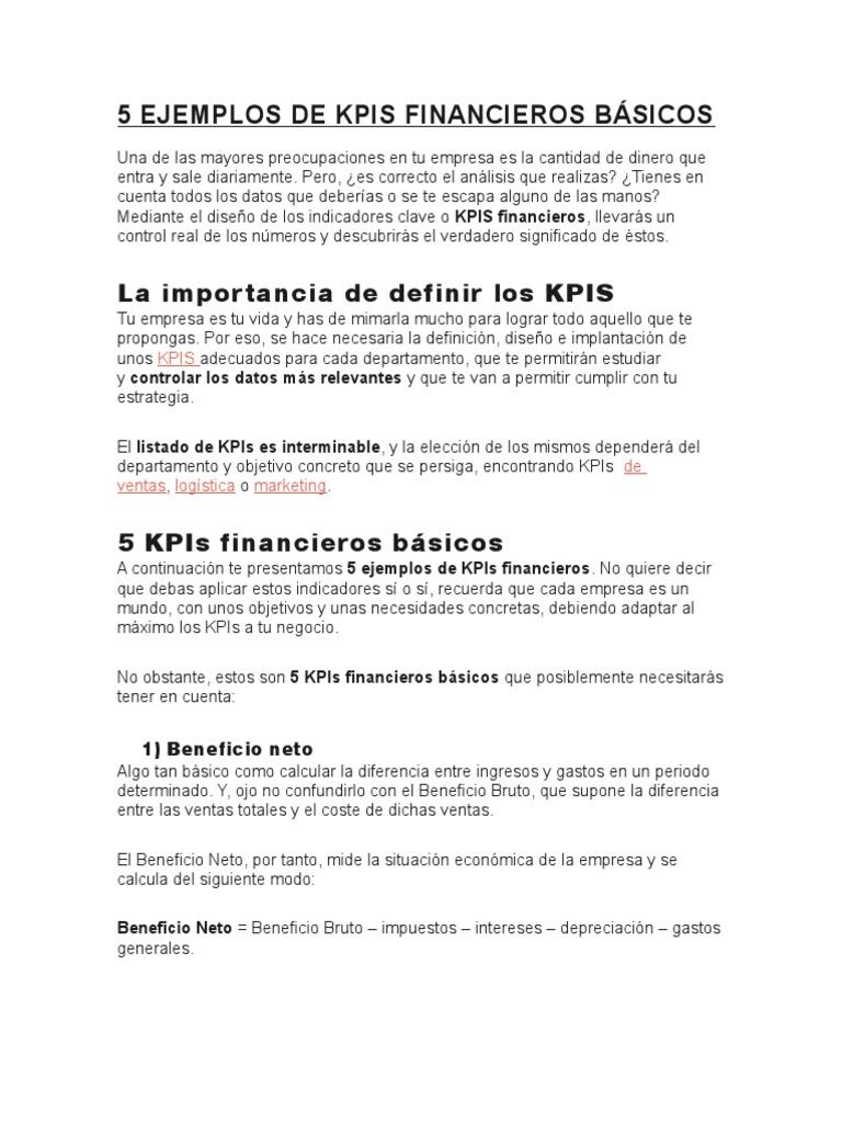 5 Ejemplos de Kpis Financieros Básicos