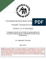 Lenguaje y Teoría de la Mente en Preescolares de Tucumán Pertenecientes a diferentes Niveles Socio Económicos