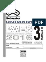 3º etapa do PAES UNIMONTES 2016