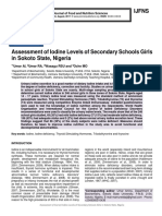 Assessment of Iodine Levels of Secondary Schools Girls in Sokoto State, Nigeria