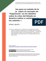 Artese, Agustin (2016). « Apuntes Para Un Estado de La Cuestion Sobre El Concepto de Hegemonia en Los Debates Sobre La Crisis Del Estado (..)