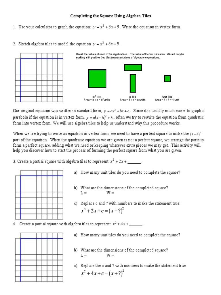 Worksheets Algebra Tiles Worksheet complete the square worksheet mathematical analysis algebra
