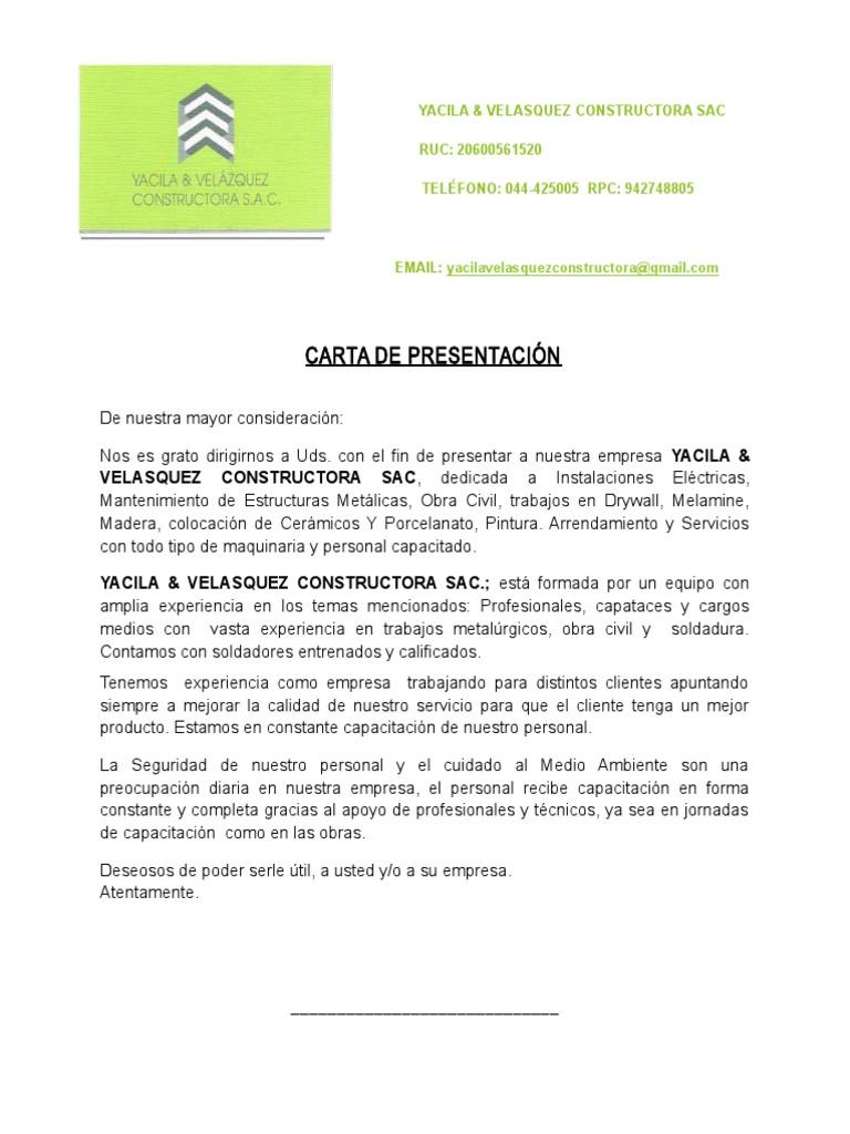 Fantástico Mantenimiento De Las Instalaciones Carta De Presentación ...