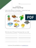 Grains Food Group Worksheet