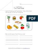 Fruit Food Group Worksheet