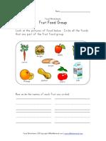 Fruit Food Group Worksheet