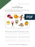 Protein Food Group Worksheet