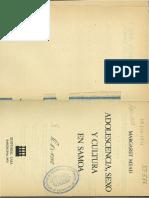 Margaret Mead Adolescencia Sexo y Cultura en Samoa