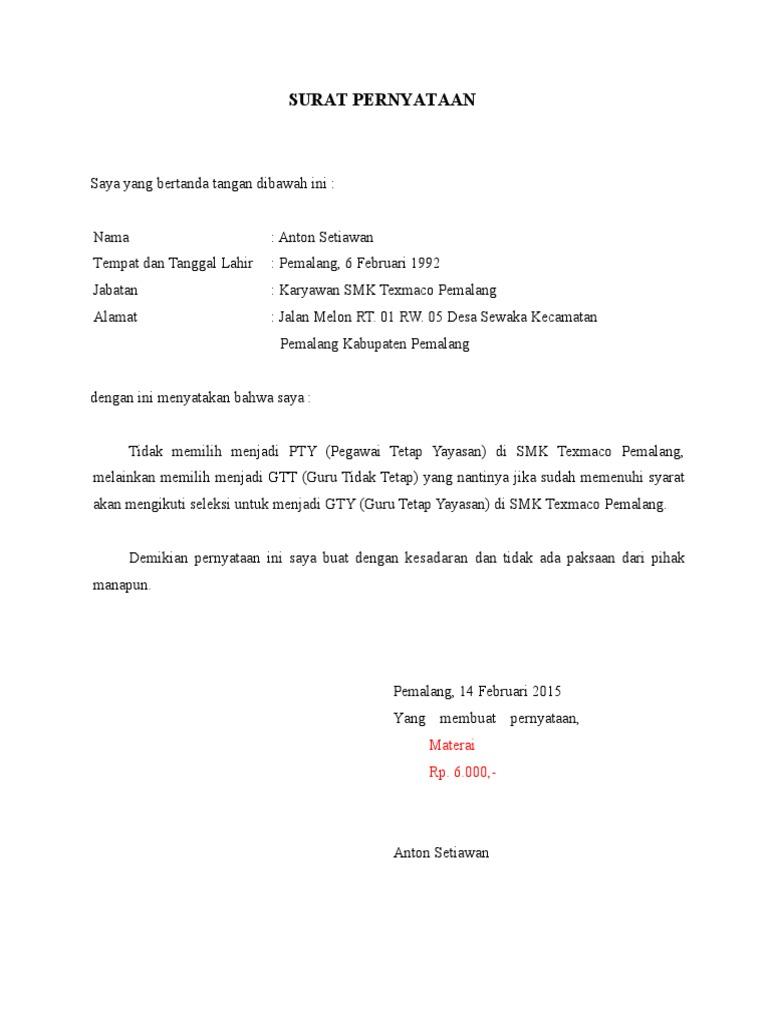 Form Surat Pernyataan Perjanjian Gtt