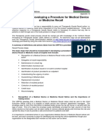 Guidelines for Developing a Procedure for Medical Device or Medicine Recall