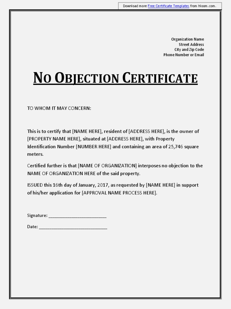 no objection certification