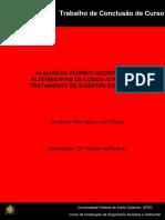 Avaliação Técnico-econômica de Alternativas de Lodos Ativados No Tratamento de Esgotos Doméstico