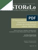 El Tranvia Electrico de Medellin Colombia y Su Aporte Al Progreso