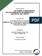Investigación Sobre la Resistencia de los Paneles M2 de EMMEDUE al proyectil de viento