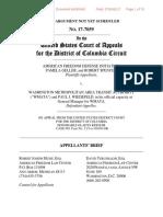"""American Freedom Defense Init, et al v. WMATA, et al """"Appellant/Petitioner Brief Filed"""