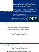 Module 2.1 Intro and After Tax Flows Initial Investment Phase