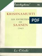 Krishnamurti - Les Entretiens de Saanen 1963