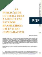 Políticas Públicas de Cultura para a Música em Estados Brasileiros