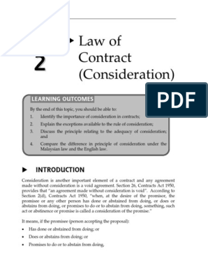 Topic 2 Law Of Contract Consideration Consideration Private Law