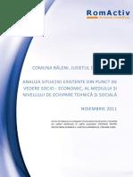Comuna Baleni - Analiza Situatiei Existente Din Punct de Vedere Socio-economic, Al Mediului Si Nivelului de Echipare Tehnica Si Sociala