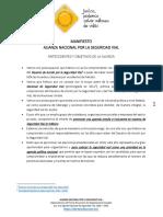 Manifiesto Alianza Nacional Por La Seguridad Vial