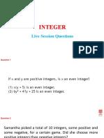 1. Integer-Live Session Questions