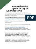 Proyecto Ley Emprendedores