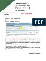 Matrícula 2017-2 Requisitos Maestria